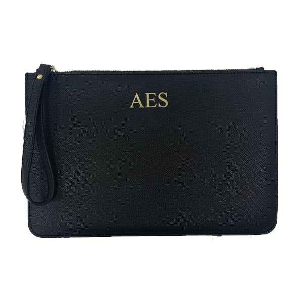 Personalised Initial Boutique Clutch Bag - Black