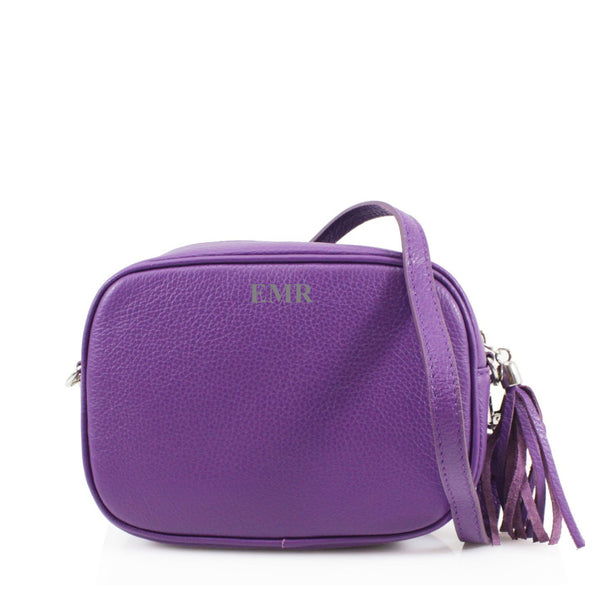 Leather Crossbody Bag - Purple