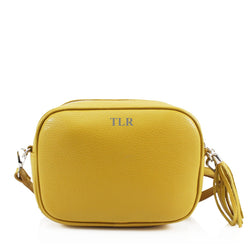 Leather Crossbody Bag - Yellow