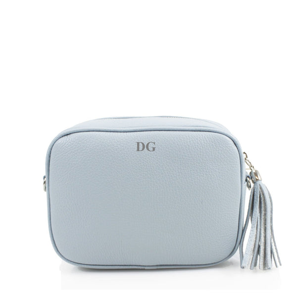 Leather Crossbody Bag - Pale Blue