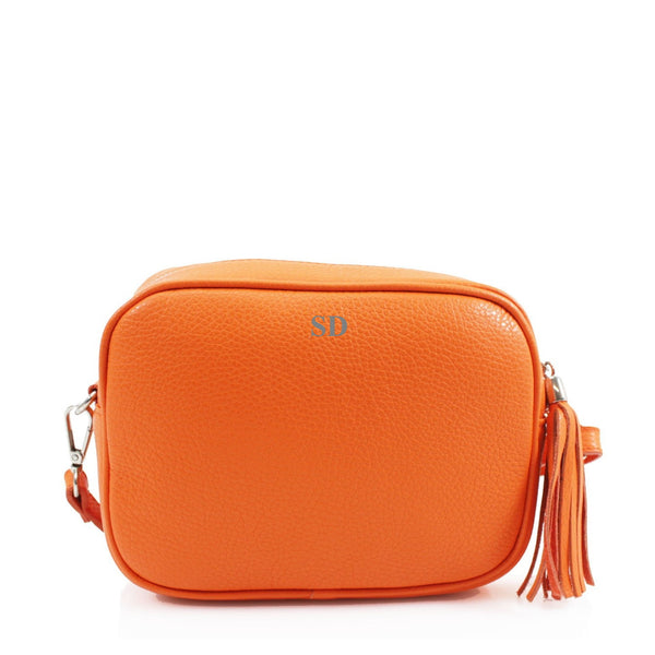 Leather Crossbody Bag - Orange