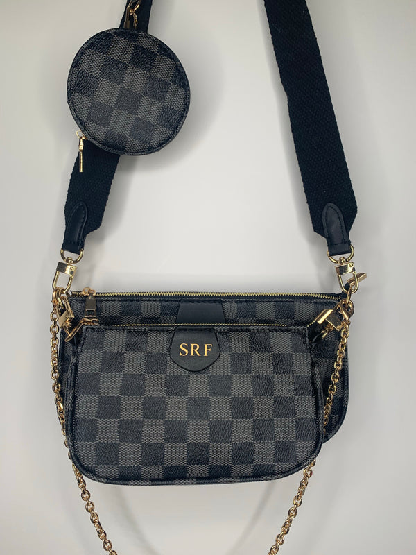 Personalised Initial Checkered Crossbody Bag - Black