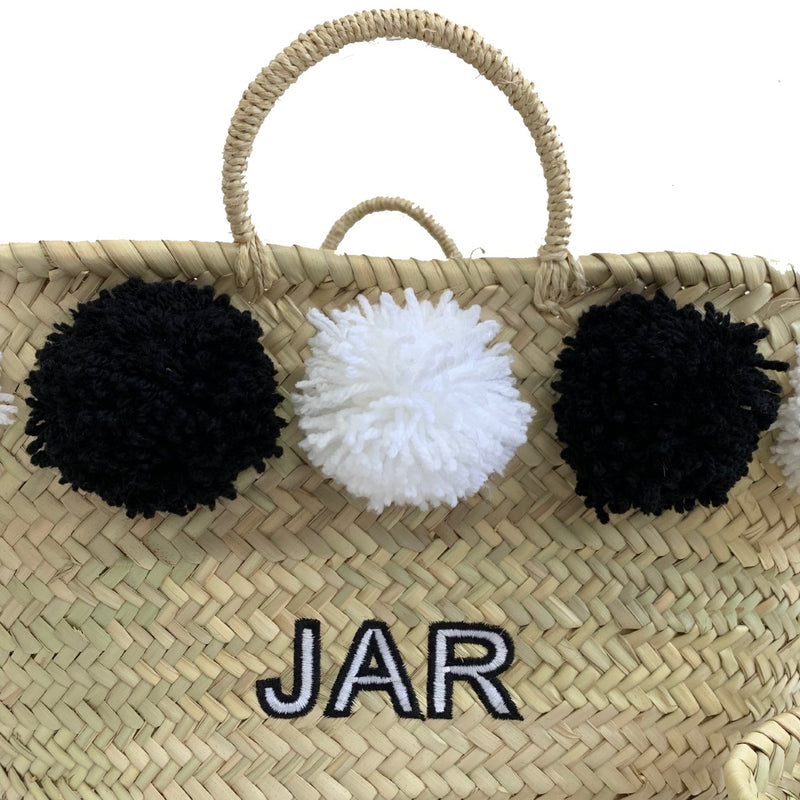 Black/white Embroidered Basket
