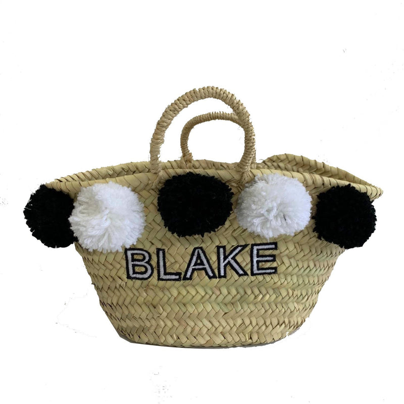 Kids Black/white Embroidered Basket