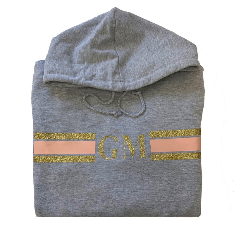 Personalised Grey Stripe Hoodie Sweater -  Glitter Rose Gold/Peach