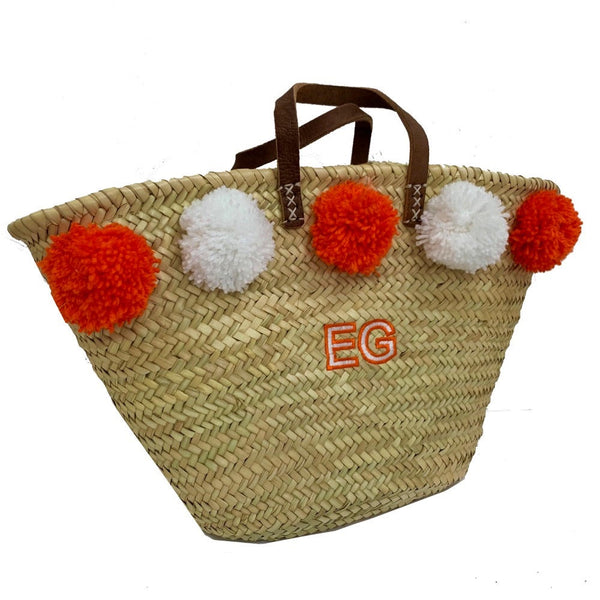 Orange/white Embroidered Basket
