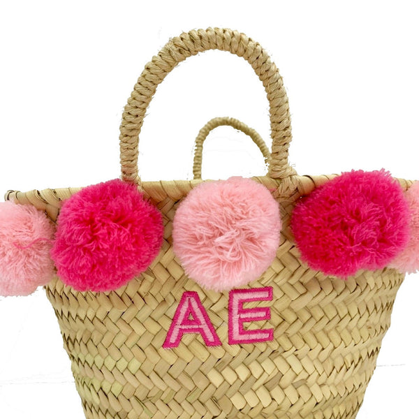 Kids Pink Embroidered Basket