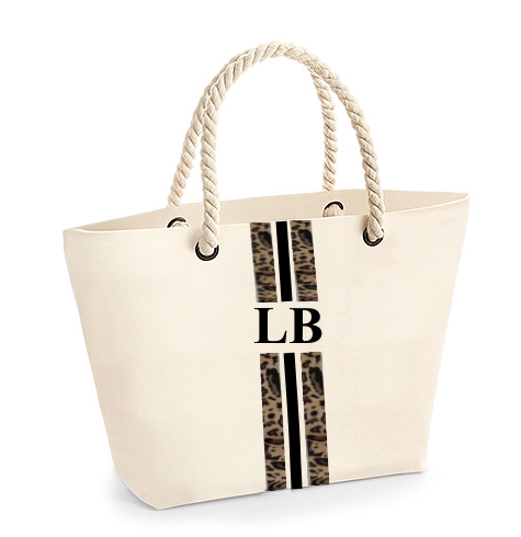 image 1 of Leopard Rope Personalised Tote Bag