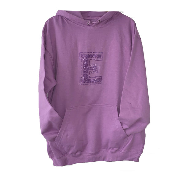 Personalised Lilac Hoodie Sweater -  Glitter Initial