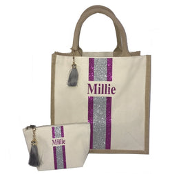image 1 of Gift Set GLITTER Personalised Medium Bag and Small Make Up Bag