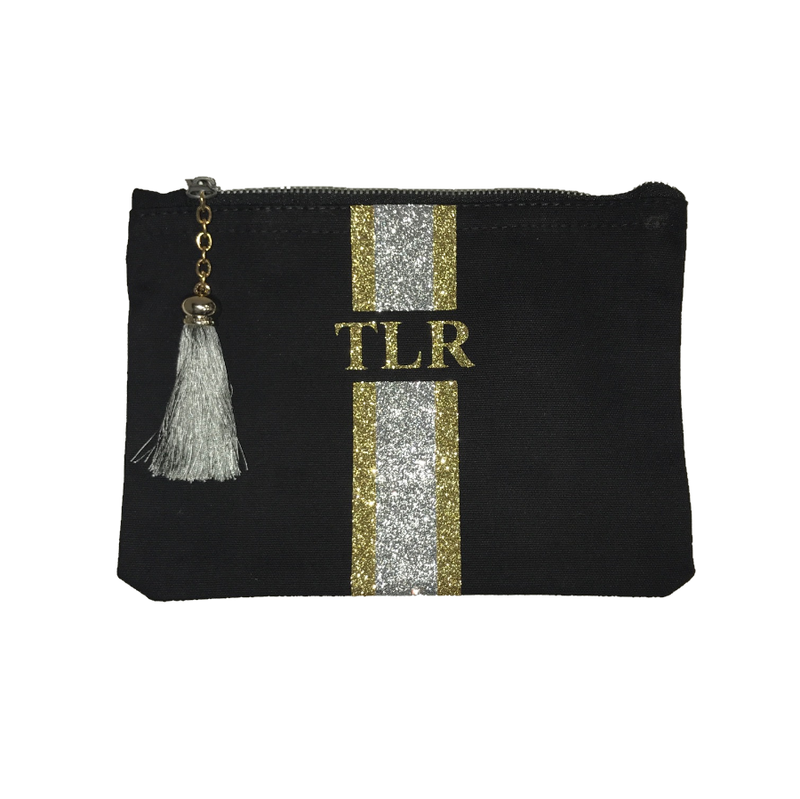 image 1 of GLITTER Personalised Clutch BLACK - Large