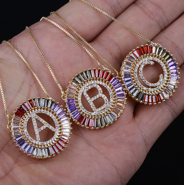 Circle Initial Crystal Necklace - Multicolour
