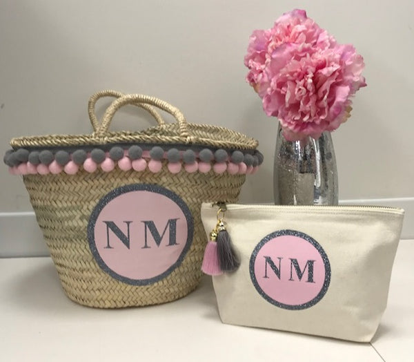 image 2 of Personalised GLITTER Basket and Make Up Bag