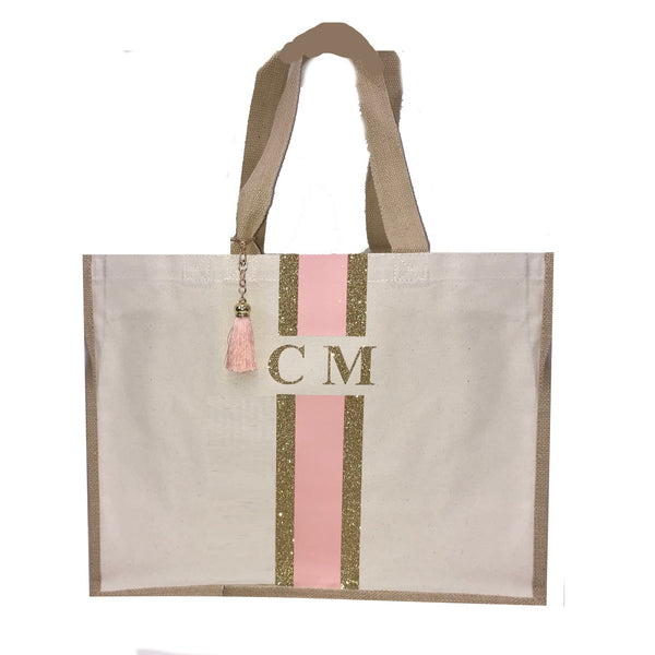 image 1 of LIMITED EDITION Peach and Gold Glitter tote bag
