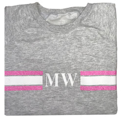 image 1 of Personalised Grey Stripe Sweater - Glitter Pink/White