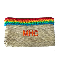 Rainbow Personalised Rafia Pom Pom Clutch