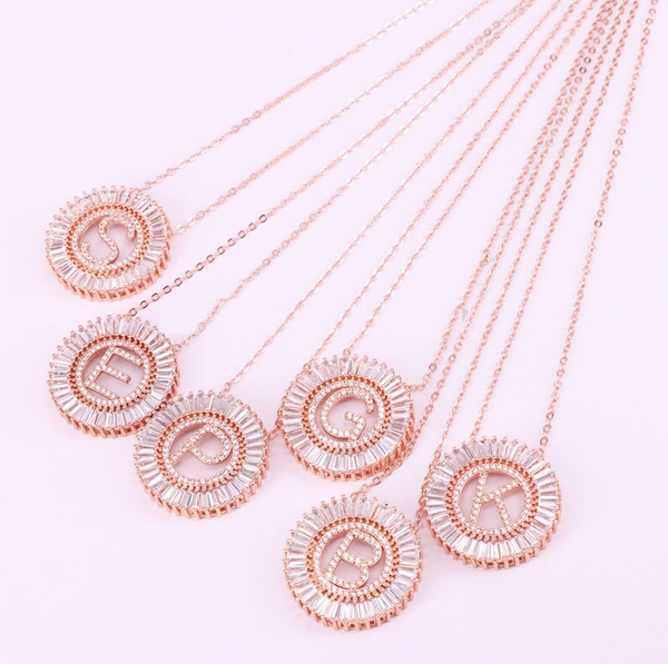 Circle Initial Crystal Necklace - Rose Gold