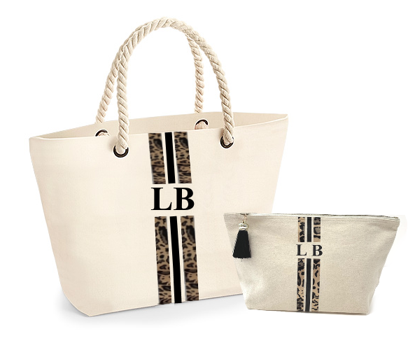 image 1 of Leopard Personalised Tote & Medium Make Up Bag