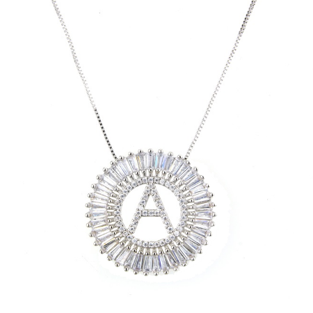 Circle Initial Crystal Necklace - Silver