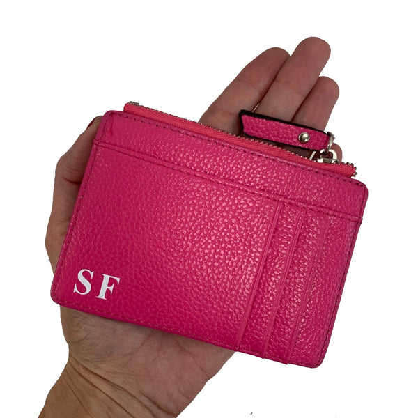 Personalised Card & Coin Holder - Fuchsia Pink