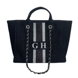 Glitter Chanella Chain Bag - Black