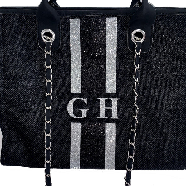 Glitter Chanella Chain Bag - Gliter Black/Silver