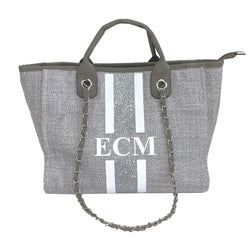 Glitter Chanella Chain Bag - Grey
