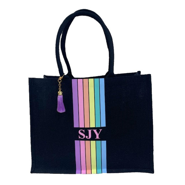 Black Rainbow Large Personalised Tote Bag