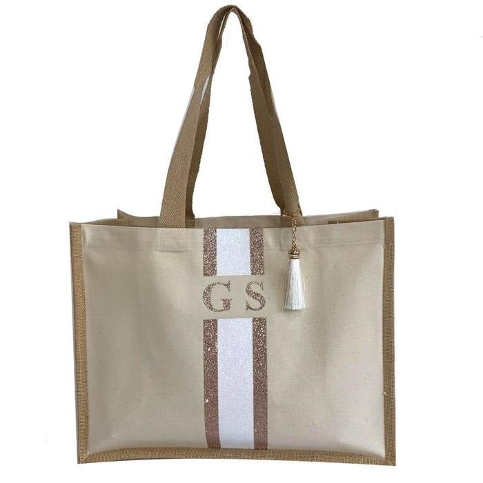 Rose Gold and White Glitter Tote Bag