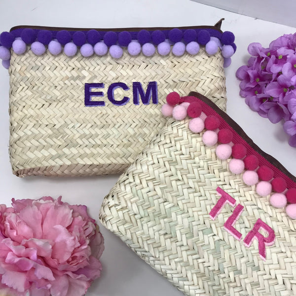 Personalised Rafia Pom Pom Clutch