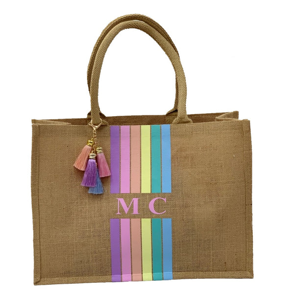 Rainbow Large Personalised Tote Bag