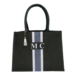 GLITTER Grey and White Tote Bag - Large