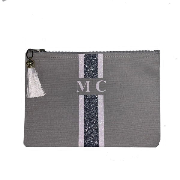 GLITTER Grey and White Personalised Clutch Bag