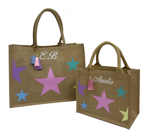 Multicolour Stars Personalised Tote Bag Gift Set
