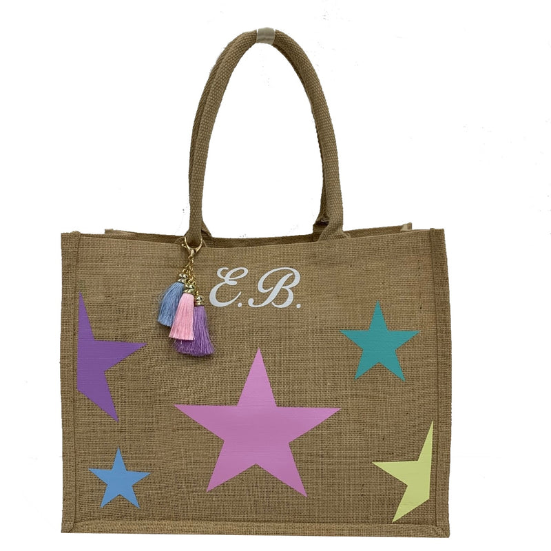 Multicolour Stars Personalised Tote Bag