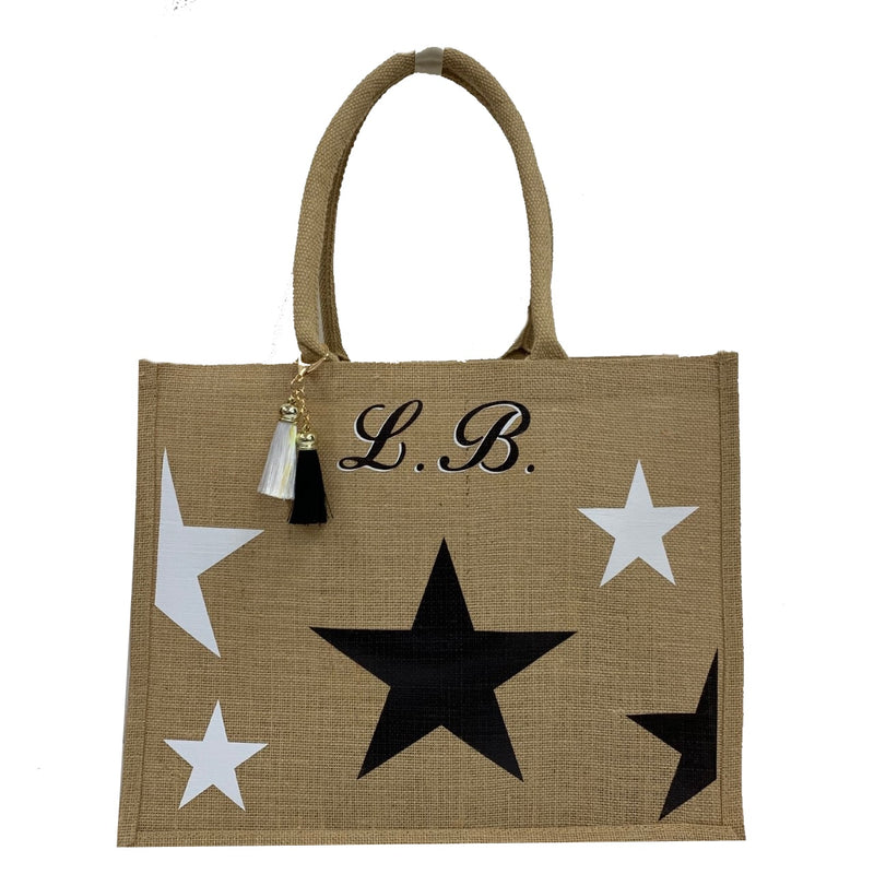 Stars Personalised Tote Bag - Monchrome