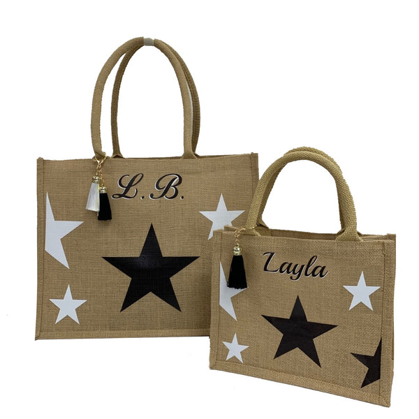 Stars Personalised Tote Bag Gift Set - Monochrome