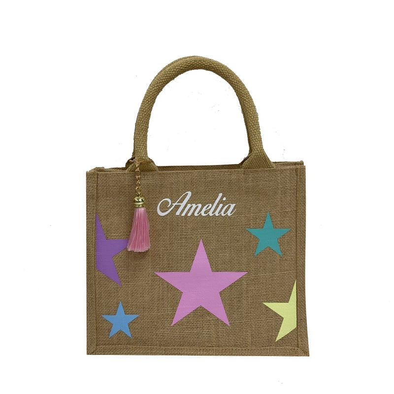 Chidlren's Multicolour Stars Personalised Tote Bag