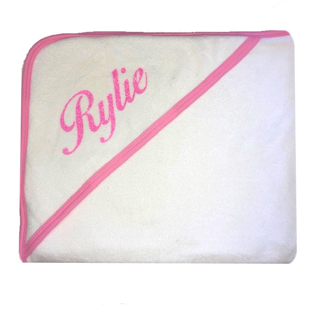 image 1 of Personalised Pom Pom Towel - Pink