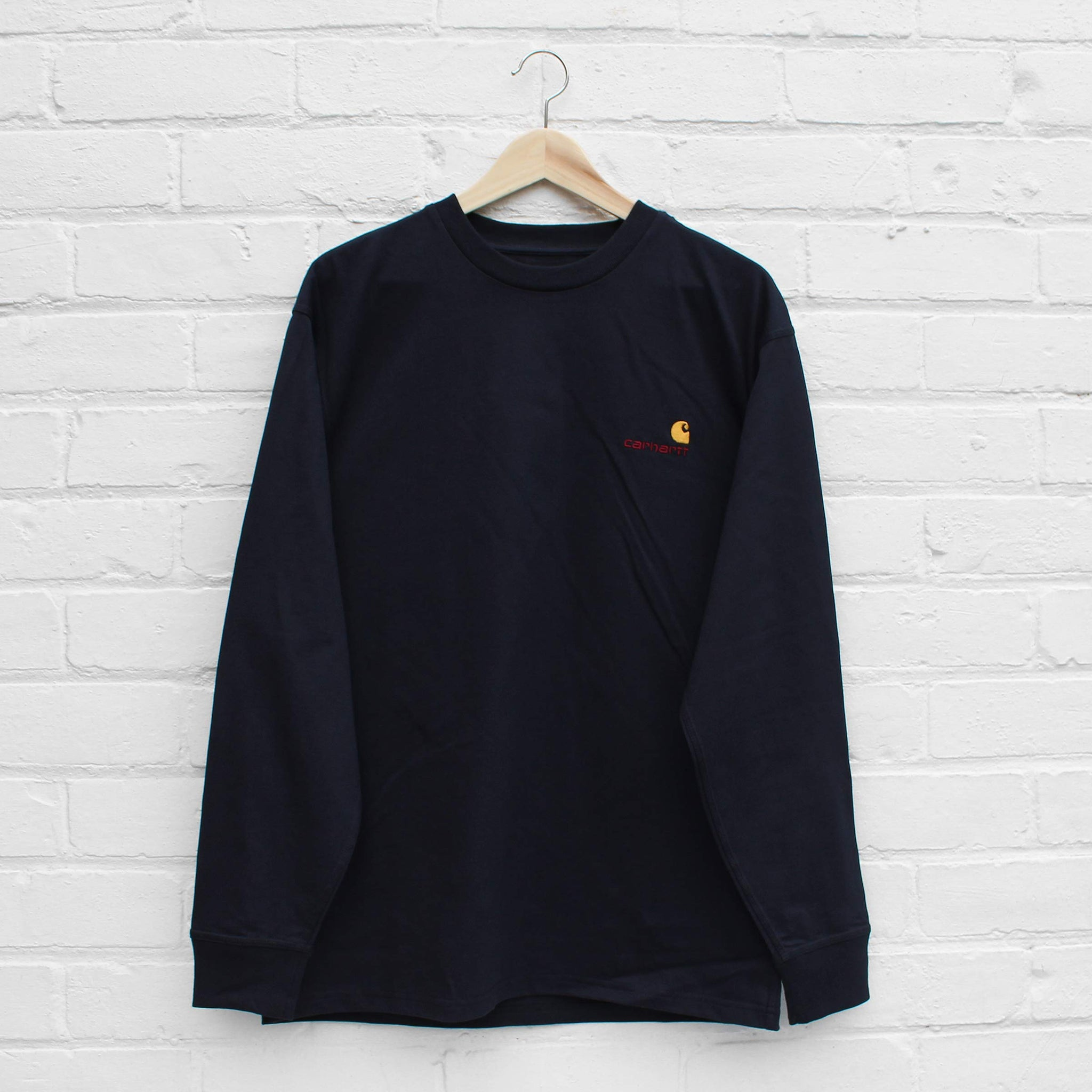 Carhartt WIP American Script Long Sleeve T-Shirt  Dark Navy