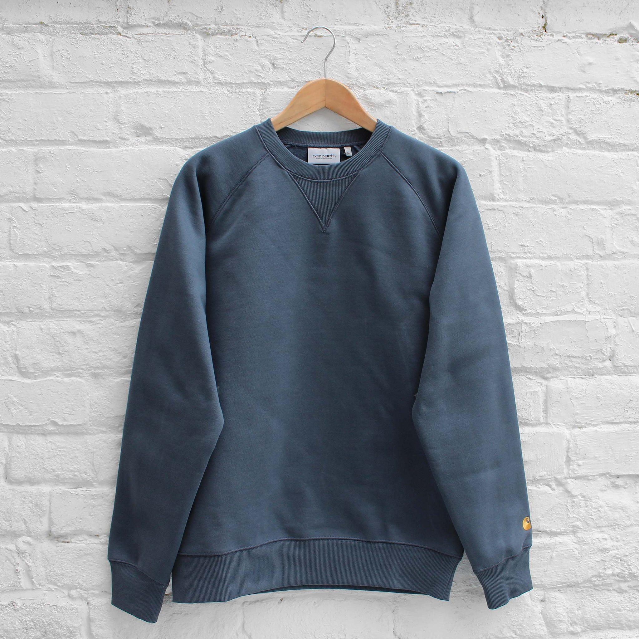 Carhartt WIP Chase Sweat Stone Blue / Gold
