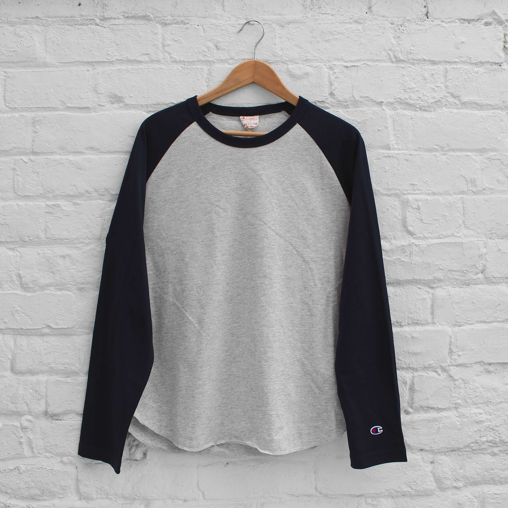 Champion Long Sleeve T-Shirt Grey/Navy