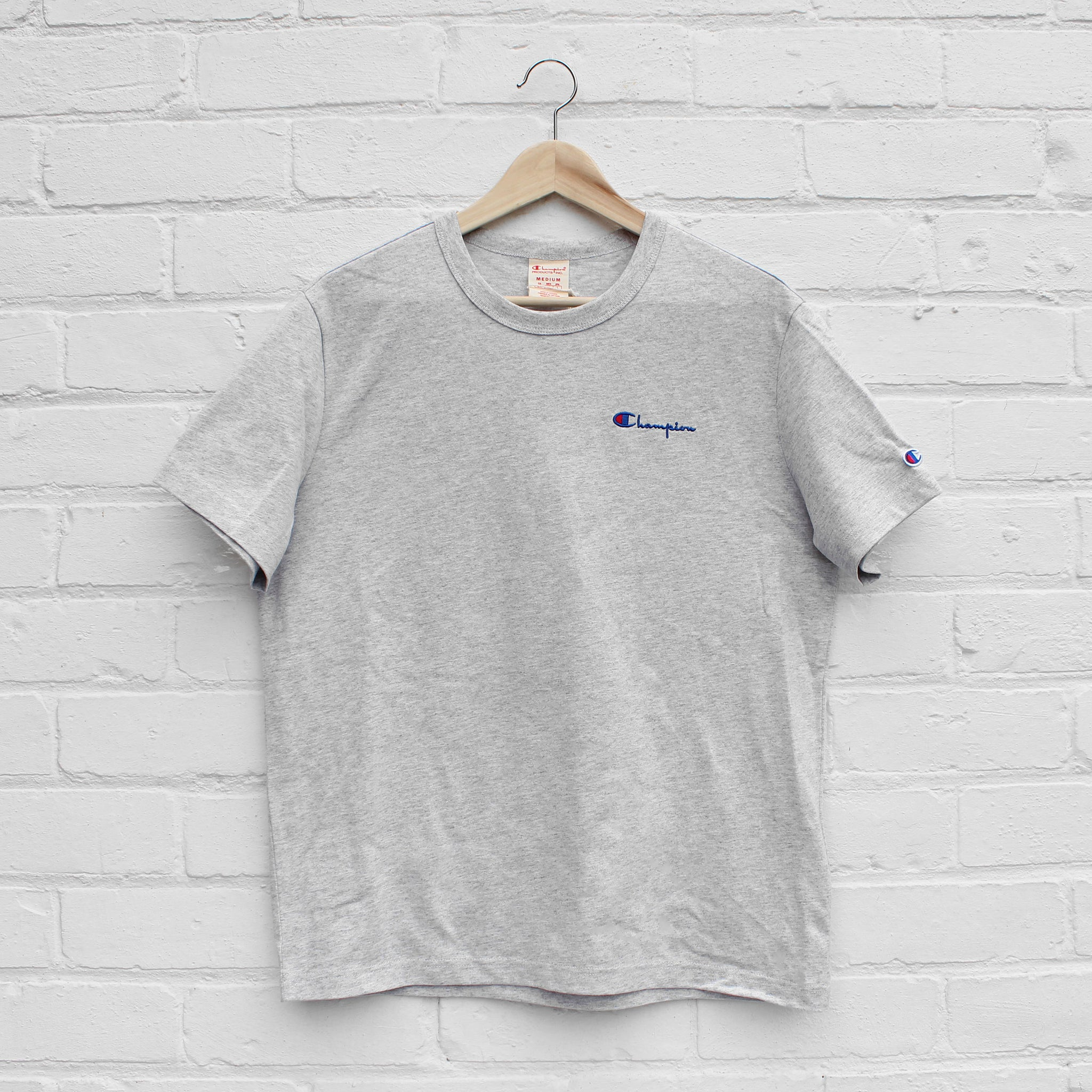 Champion Logo Crew T-Shirt Grey Heather