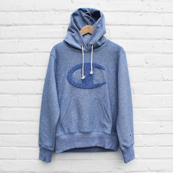 Champion Chenille Logo Hoody Dusty Blue