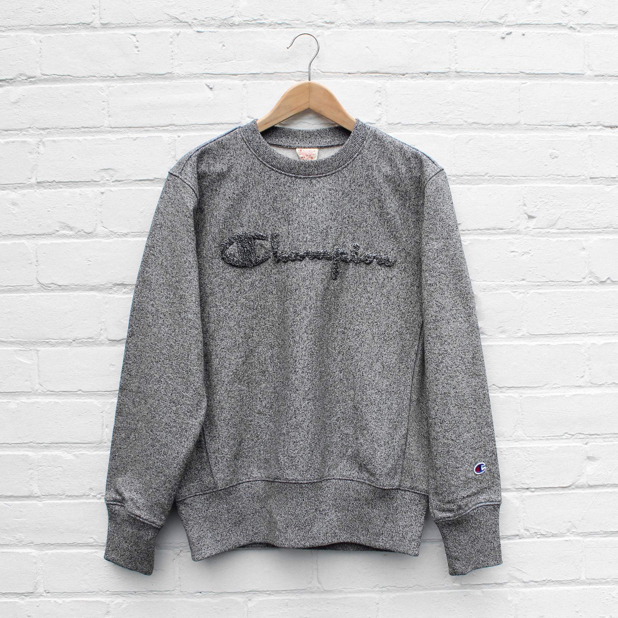 Champion Chenille Logo Sweat Crew Dusty Black