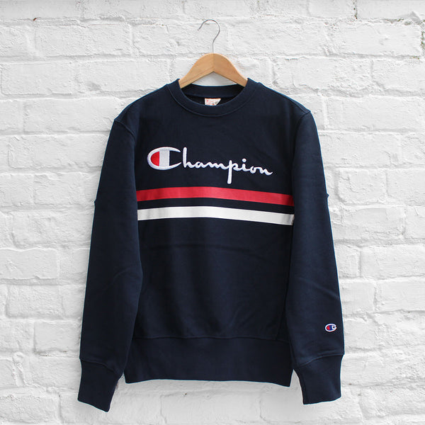 Champion Chest Stripe Crew Navy