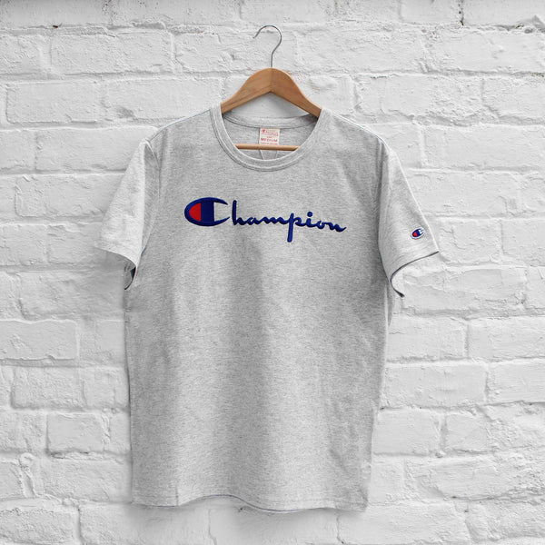 Champion Logo Embroidery T-Shirt Grey Heather