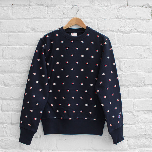 Champion Allover Print Crew Navy