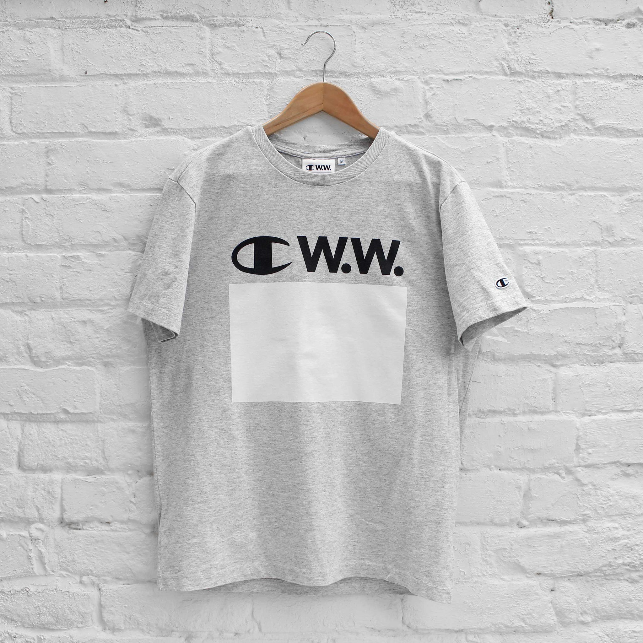 Champion x Wood Wood Logo T-Shirt Grey Melange