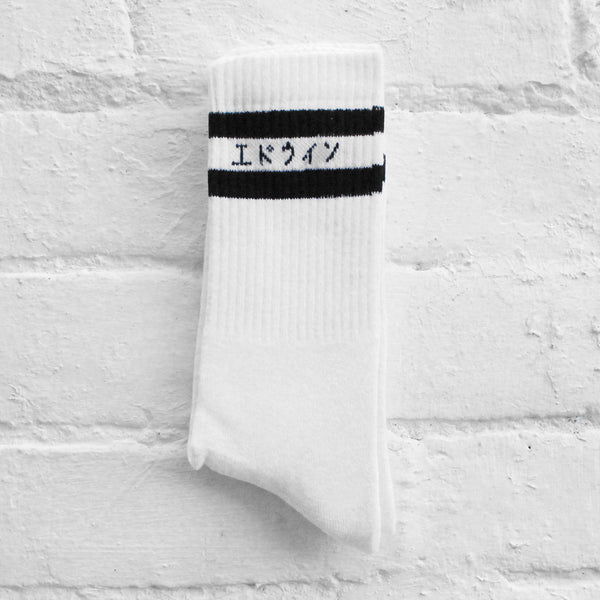 EDWIN x Democratique Tube Socks White/Black